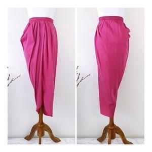 ANTHROPOLOGIE CLU Pink Silk blend Tulip Skirt S